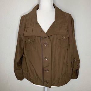 Chico's Brown Bomber Jacket Sz 2